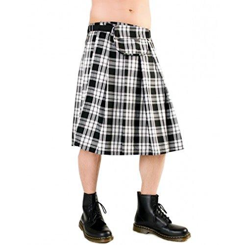 Black Pistol Heren Schotse rok Tartanpatroon - Short Kilt Tartan Zwart-Wit