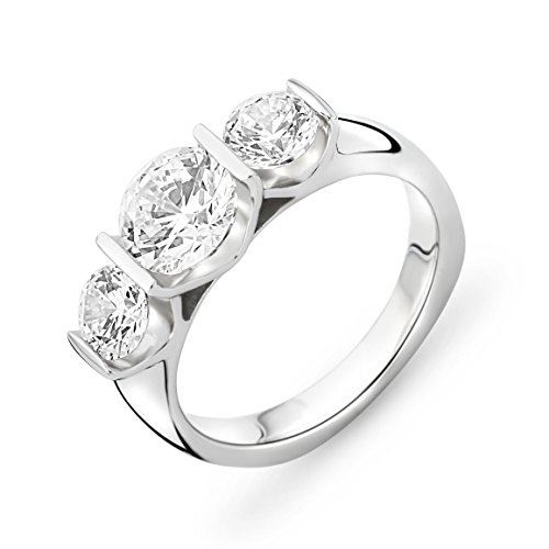 MIORE Ladies 925 Sterling Silver Zirconia Trilogy Engagement Ring - Size O