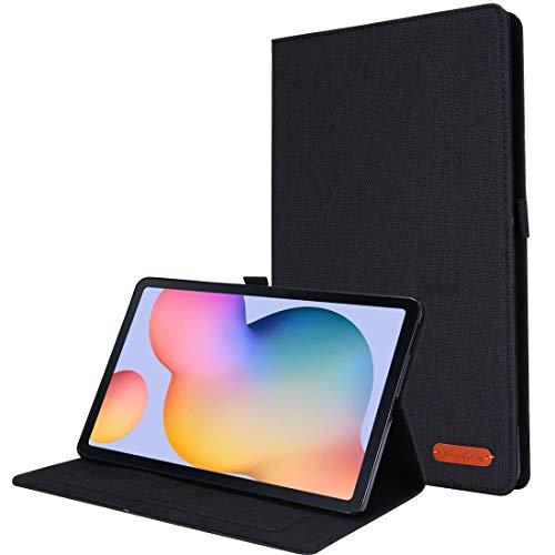 YANTAIANJANE Estuches de Cuero de teléfono For el Caso Protector del tirón de Samsung Galaxy Tab S6 Lite Horizontal TPU Tela de la PU de Cuero con Clip de la Tarjeta conocida (Color : Black)