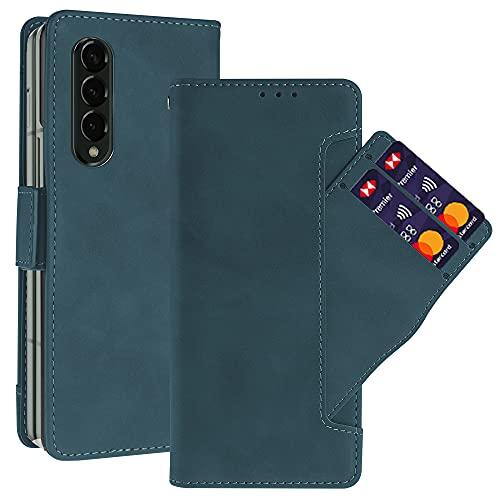 NEWZEROL Ledertasche für Samsung Galaxy Z Fold 3 Hülle Leder [rutschfest] [Kratzfest] [Kartensteckplätzen] Multi Karten Steckplatz, Klappetui Lederfaserschutz Stoßdämpfer Handyhülle - Blau