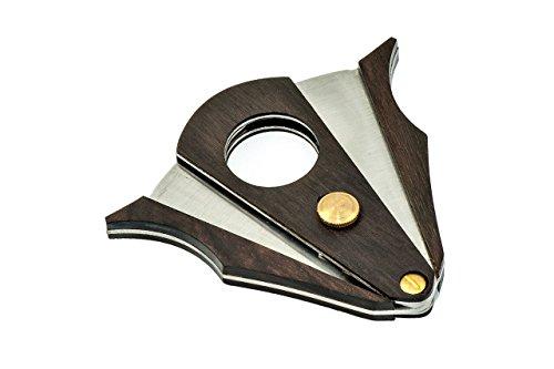 COSACASA CIGAR CUTTER STAINLESS STEEL DOUBLE CUT BLADE ZEBRA WOOD CIGAR CUTTER- BLACK GIFT BOX