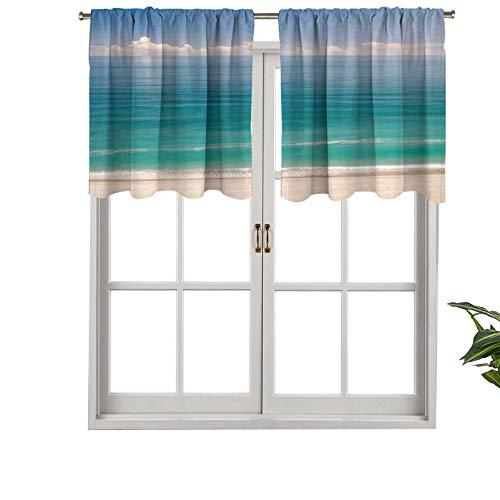Hiiiman Cenefa de cortina con bolsillo para barra con aislamiento térmico para ocio, paisaje costero de playa con agua verde, juego de 2, 42 x 36 pulgadas para dormitorio, baño y cocina