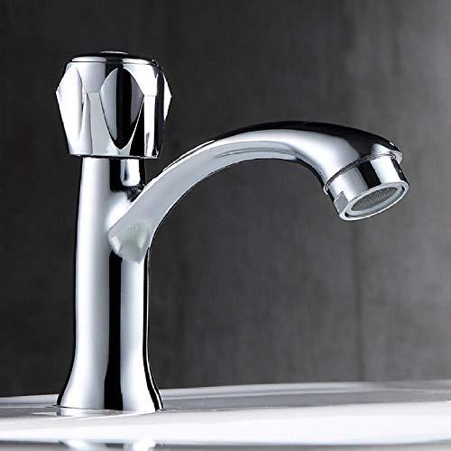 WTIANY Grifo de alta calidad Lavabo del grifo lavabo frío simple lavabo del lavabo del tocador baño único agujero precio de aleación de cobre solo rueda de diamante frío solo agujero