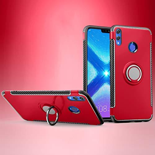 Labanema Honor 8X /Honor View 10 Lite Hülle, Ring Kickstand 360 Grad rotierenden Fingerring Grip Drop Schutz Stoßdämpfung Weichen TPU Cover für Huawei Honor 8X /Honor View 10 Lite - Rot