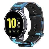 Cytech Cinturino per Samsung Galaxy Watch Active/Active 2/Galaxy Watch 42mm/Gear S2/Huawei Watch 2/GT 2 42mm, 20mm Morbido Silicone Cinturini di Ricambio Braccialetto (Mimetico blu)