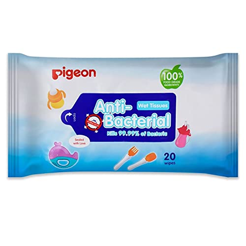 Pigeon Anti-Bacterial Wet Wipes, Soft Pack, 20 Wipes