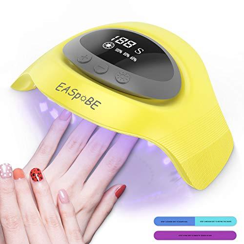 Lámpara LED uñas, Secador de Uñas con 4 Temporizadores Profesional de 30s/60s/90s/120s, Pantalla LCD, Sensor y Secado de Doble Velocidad de Nivel Salón, Ideal para uñas de gel (Amarillo)