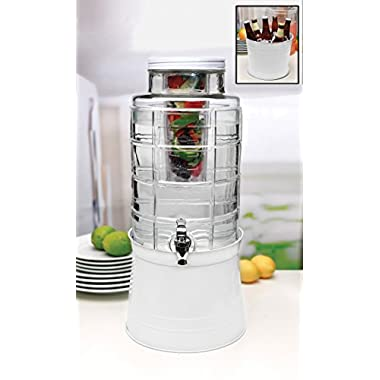 Circleware 67126 Big Window Glass Beverage Drink Dispenser with White Base Metal Stand Transforms Bucket, Lid, Fruit Infuser and Ice Insert 2.4 Gallons, 2.4 Gal