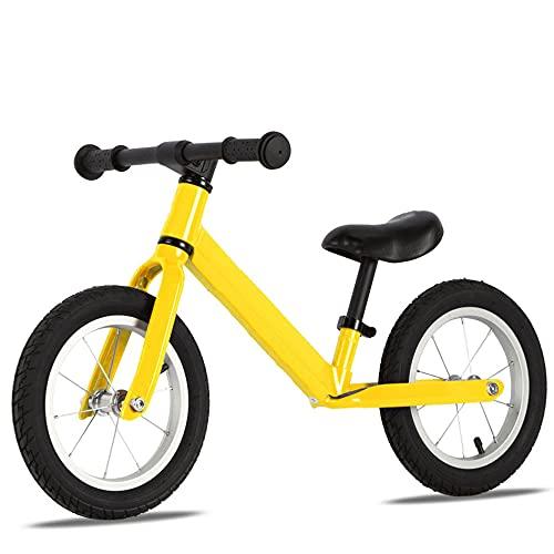 Wushu First Bike Bicicleta Pedales Infantil para Niños De 2 A 6 Años Bici para Aprender A Mantener El Equilibrio hasta 45 Kg yasiento Regulables(Color:Amarillo)