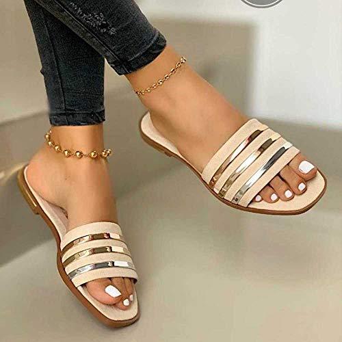 Ririhong Sandalias, Zapatillas de Exterior de Gran tamaño, Sandalias Planas y Zapatillas de Mujer, Ropa Exterior Antideslizante-Beige_34