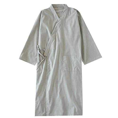 Fancy Pumpkin Camicia da Notte per Pigiama in Cotone Kimono da Uomo Giapponese [G1, Taglia L]