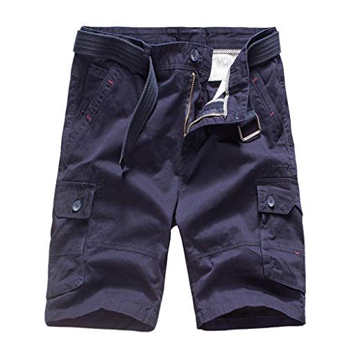 Read About Men's Casual Cotton Twill Loose Multi-Pocket Casual Cargo Outdoor Work Shorts with Belt B...