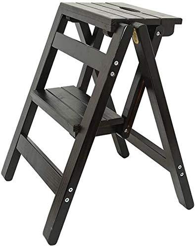 BECCYYLY Taburete de Escalera General Perfil de Madera Maciza de 2 Pasos, no Slip peldaño Plegable for niños y Adultos de Muebles Las escaleras de Mano portátiles Escalera (Color : Black Walnut)