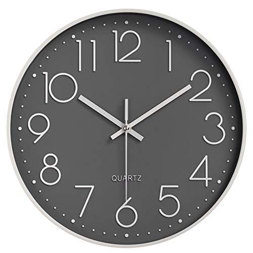 HOSTON Reloj de Pared Moderno silencioso, sin tictac, Funciona con Pilas, Redondo, fácil de Leer, Relojes de Pared de Cuarzo para Sala de Estar, Cocina, Escuela, Oficina (Gris)