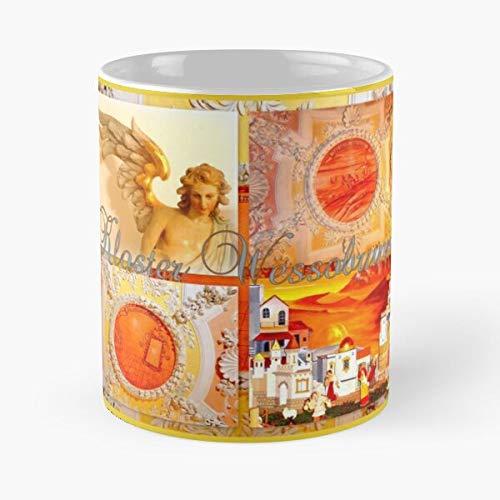 worldbrand Ceiling Abbey Germany Bavaria Wessobrunn Frescos Collage Monastery Kloster Taza de café con Leche 11 oz