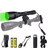 Linterna de caza verde, 300 yardas Linterna de LED verde con montaje de alcance Antorcha táctica con zoom Predator Hog Coyote Light para visión nocturna Caza Interruptor presión y baterías incluidas