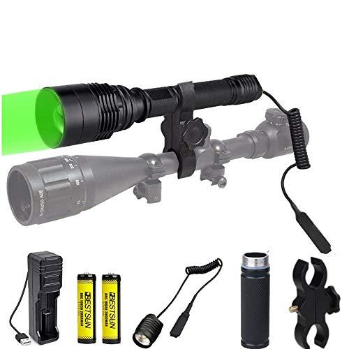 Linterna de caza verde, 300 yardas Linterna de LED verde con montaje...