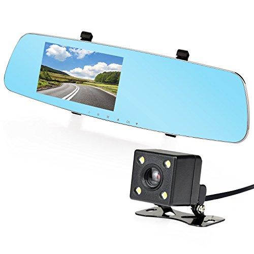 NEXGADGET Cámara de salpicadero de 5 pulgadas, gran angular de 170°, Full HD, 1080P, grabadora de vídeo dual para coche para espejo delantero y trasero DVR con modo de estacionamiento y sensor G