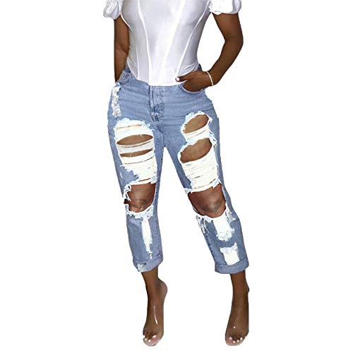 Women's High Waisted Destroyed Jeans Skinny Ripped Boyfriend Jean Distressed Denim Pants with Holes (Large,Light blue)
