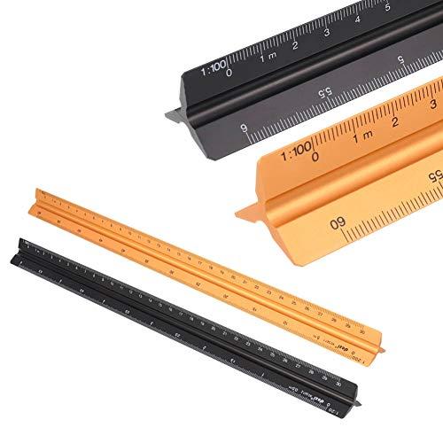 2 Stück Dreikantmaßstab Scale Ruler, Alu Dreikantlineal, Maßstab Lineal, 30 cm Aluminium Dreieckskala Lineal -1:20:25:50:75:100:150, 1:100:200:250:300:400:500