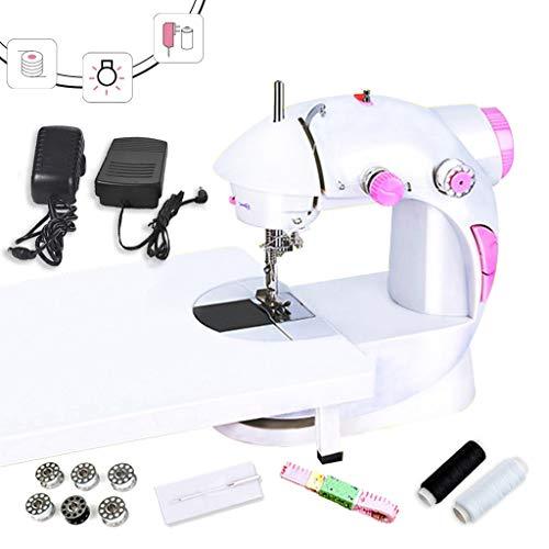 Draagbare mini-naaimachine, met uittrekbare tafel, verstelbaar, 2 snelheidsniveaus, wit/roze