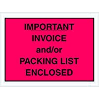 Tape Logic TLPL418 Important Invoice and/or Packing List Enclosed Envelopes 4 1/2 x 6 Red (Pack of 1000) [並行輸入品]