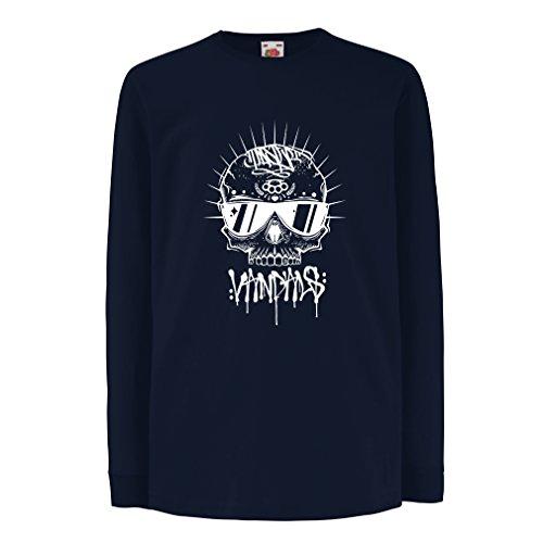 lepni.me Camiseta para Niño/Niña Monopatín Hipster, Calavera gráfica, Regalo para Patinador, Ropa para Patinaje (12-13 Years Azul Multicolor)