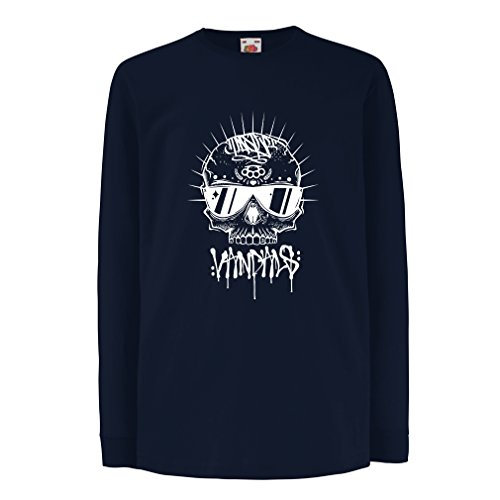 lepni.me Camiseta para Niño/Niña Monopatín Hipster, Calavera gráfica, Regalo para Patinador, Ropa para Patinaje (5-6 Years Azul Multicolor)