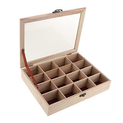 Schmuckkästchen 16 Gitter Unvollendete Holz Stash Box, Quadrat Unbemalt Holz Schmuck Box Lagerung Truhe Schatz Fall Für Diy Handwerk