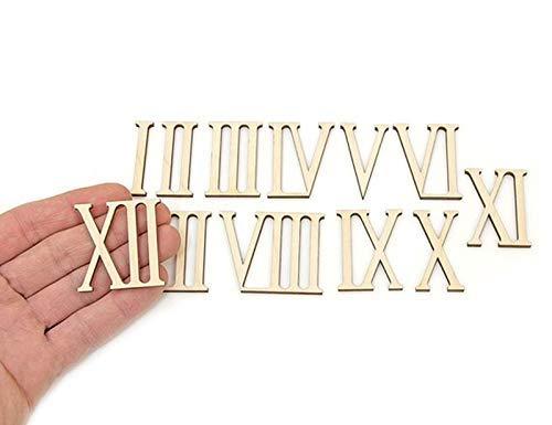 12 Stück Holz Römische Ziffern Form Holz Zahlen Ornamente Handwerk Dekoration (4 cm hoch)