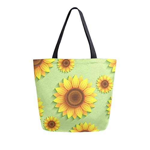 3D-Sonnenblumen-Tragetasche, aus Leinen, mit Griff oben, große Tragetaschen, wiederverwendbare Handtaschen, Baumwoll-Schultertaschen für Frauen, Reisen, Arbeit, Einkaufen, Lebensmitteln.