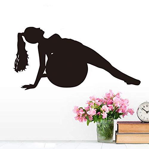 YuanMinglu Moderne entfernbare Tapetenausgangsdekor-Yogahaltung mit Ballschattenbildvinylaufkleber- Schlafzimmerkunst-Abziehbildschlafzimmer 70.8X35.4CM