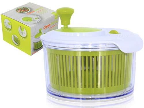 Kleiner Salat Spinner/Kräutertrockner Salatschleuder - Klare Servierschale, Siebkorb, Smart-Lock-Deckel, einfaches Ablaufsystem 16cm Durchmesser Wäscht, trocknet und kleidet Salat/Obst/Gemüse