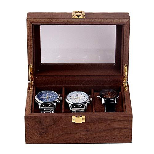 Fablcrew Uhrenbox für 2/3 Holz Uhrenkasten Uhrenkoffer Schaukasten, mit herausnehmbaren Uhrenkissen