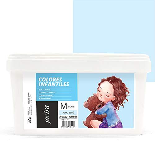 COLORES INFANTILES Pintura plástica ecológica sin olor e hipoalergénica de acabado mate y luminoso. (5 kg, AZUL BEBÉ)