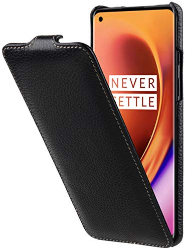StilGut UltraSlim entwickelt für OnePlus 8 Pro Hülle aus Leder - OnePlus 8 Pro Flip Hülle, Klapphülle, Handyhülle, Lederhülle - Schwarz