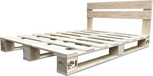 LIPA Palettenbett mit Kopfteil Massivholzbett Paletten Bett Holz 90 100 120 140 160 180 200 x 200cm hergestellt in BRD (140 x 200 cm)