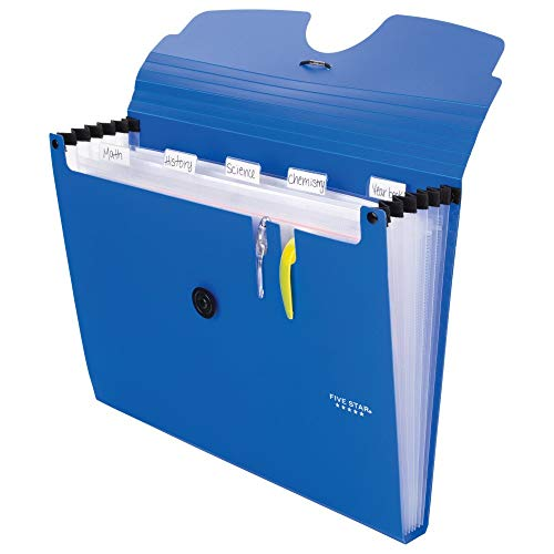 Five Star 6-Pocket Expanding File Organizer, Plastic Expandable Letter Size File Folders with Pockets, Home Office Supplies, Portable Paper Organizer for Receipts, Bills, Documents, Blue (72393) Photo #3
