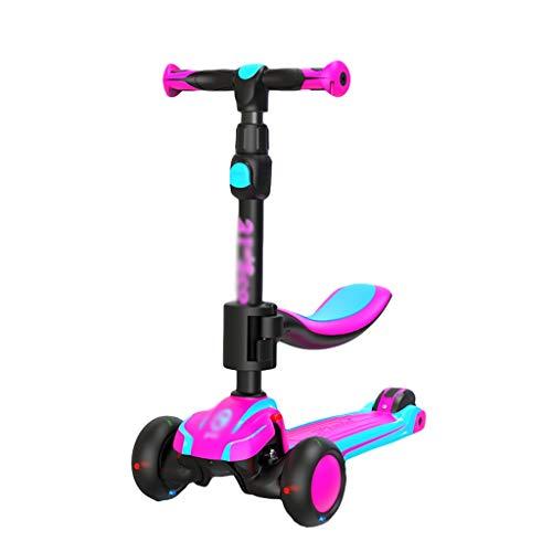 Dongxiao Patinete Scooter de Niños Pequeños para Niños de 1 A 14 Años con Asientos Móviles 3 Ruedas Scooter Ajustable Alturas (Color : Purple)