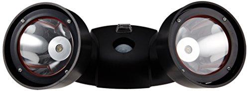 防滴 ソーラー 充電式 明るい 2W 首振り ツイン LED センサーライト MEL-68