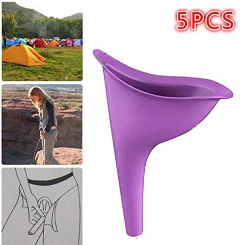 Cortneyrs 5X Urinario Femenino Urine Female Dispositivo de Urinación Orina Orinar de Pie Portátil Mujer Viajar Camping Senderismo Servicios Baños Públicos, Púrpura