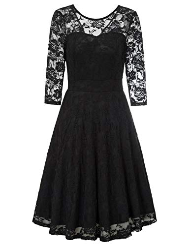 Formal Dresses for Wedding Guest Women Vintage Floral Evening Party Cocktail Lace Dress with Sleeves Black M