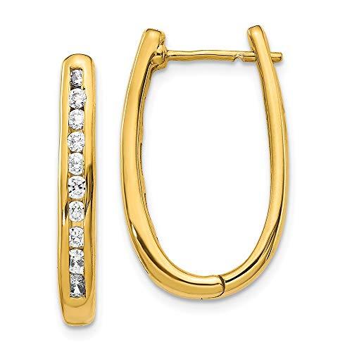 14k Yellow Gold Diamond Oval Hinged Hoop Earrings Ear Hoops Set Fine Jewellery For Women Gifts For Her