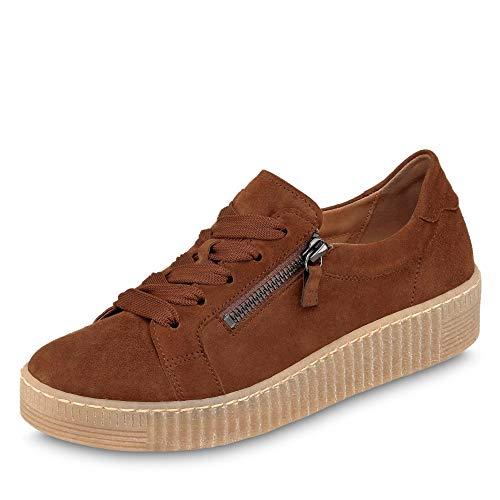 Gabor Damen Low-Top Sneaker 33.334, Frauen Sneaker,Halbschuh,Schnürschuh,Strassenschuh,Business,Freizeit,Whisky (Natur),43 EU / 9 UK