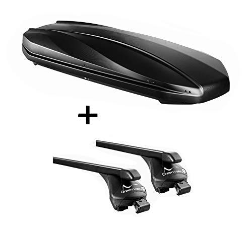 VDP Dachbox Strike 440 liter mat zwart + raildrager Quick compatibel met Ford Focus Active (5 deurs) vanaf 2019 aansluitende rail