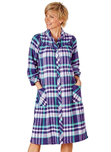 AmeriMark Flannel Snap Front Duster House Coat Plaid Lounger with Patch Pockets Violet 2X