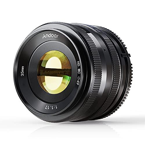 Obiettivo Andoer 35mm F1.7 APS-C con Messa a Fuoco Manuale ad Ampia Apertura con Messa a Fuoco Fissa Sony E Mount Compatibile con La Fotocamera Mirrorless Sony APS-C