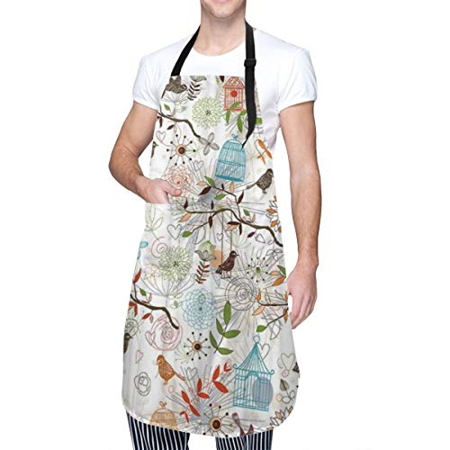 COFEIYISI Adjustable Kitchen Apron with pockets Custom Bird Cage Flower Leave Pattern Home Kitchen Cooking Baking Gardening Apron for Women Men