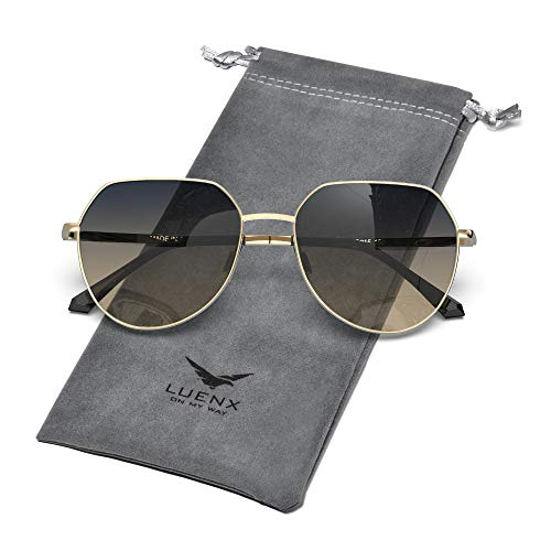 LUENX Women Sunglasses Polygon Round Polarized Men- Gold Frame and Temple Non Mirrored Driving uv 400 Protection 58 MM(Gradient Smoke Brown)