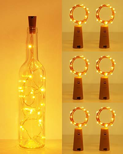 (6 pezzi) Luci per Bottiglia, kolpop Tappi LED a Batteria per Bottiglie, Filo di Rame Led Decorative Stringa Luci da Interni e Esterni per Festa, Giardino, Natalizie, Matrimonio (Bianco Caldo)
